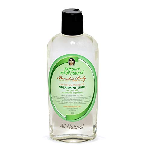 100% pure and all natural by Brenda's Body - LITE BODY and MASSAGE OIL Spearmint Lime 8 oz ORGANIC Aromatherapy Handmade in USA Eco friendly -Unisex