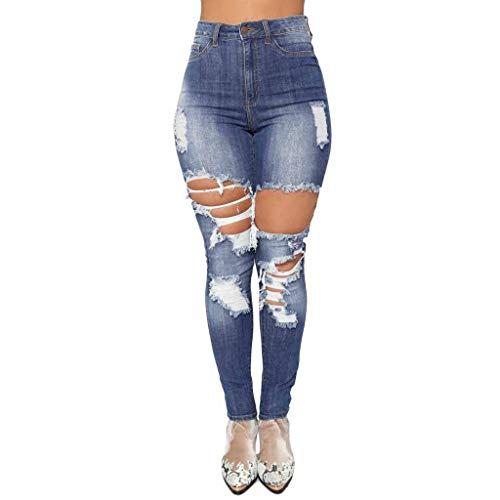 iZHH Women Comfy Casual Jeans Denim Ripped High Waist Stretch Slim Sexy Pencil Pants