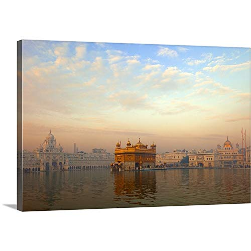 Canvas on Demand Premium Thick-Wrap Canvas Wall Art Print entitled Dawn at the Golden Temple, Amritsar 36''x24'' by Canvas on Demand