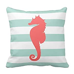 Home Style Mint and Coral Nautical Stripes and Cute Seahorse Pillowcases Personalized 20x20 inch Square Cotton Throw Pillow Cover Twin Sides