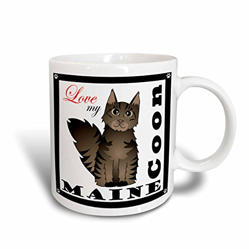 Coon Maine Cat Brown - 3dRose Love My Maine Coon Cat Brown Tabby Ceramic Mug, 15-Ounce