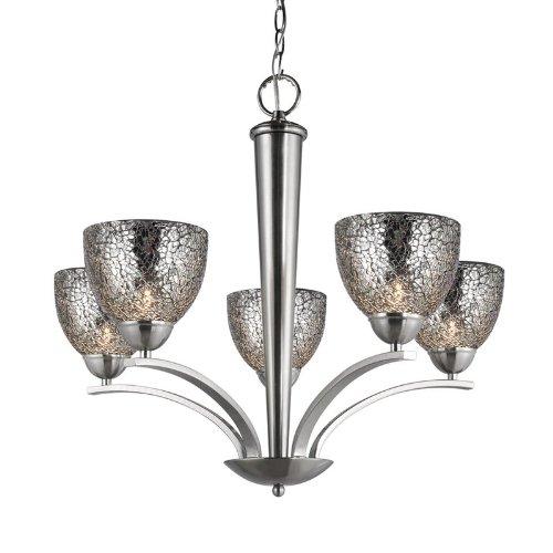 (Woodbridge Lighting 13015STN-M21MIR 26-1/-2-Inch by 23-1/2-Inch North Bay 5-Light Chandelier, Satin Nickel)
