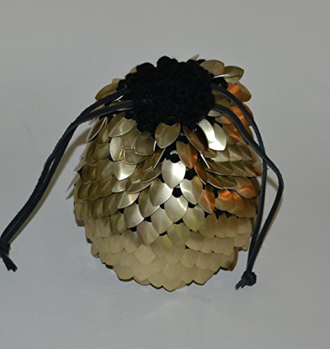 Dice Bag of Holding in knitted Dragonhide Armor- Gold by Crystal's Idyll