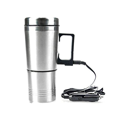 GZQ Car Heated Mug Stainless Steel Electric Thermos Travel Car Insulation Cup Pot for Heating Water, Coffee, Milk and Tea 12V 300ml (Wet Vacuums Vapor)