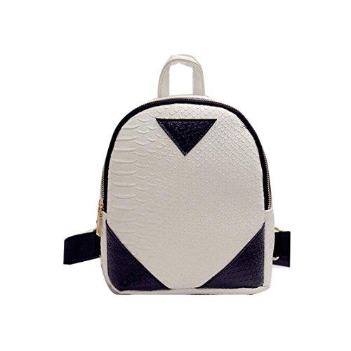 Clode® Mujeres Fahion concisa serpentina mochila escolar libro bandolera Blanco