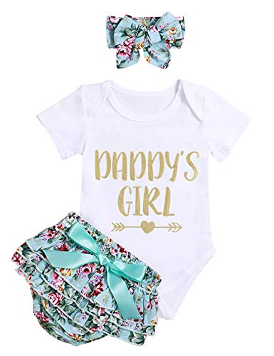 Infant Baby Girl Clothes Daddy's Girl Letter Print Romper Floral Bloomers with Headband 3PCs Toddler Outfits Set(6-12months/size90)
