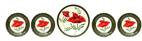Floral Poppy 5 Piece Pasta Bowl Set (Floral Ceramic Contemporary)