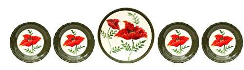 Floral Poppy 5 Piece Pasta Bowl Set (Ceramic Floral Contemporary)