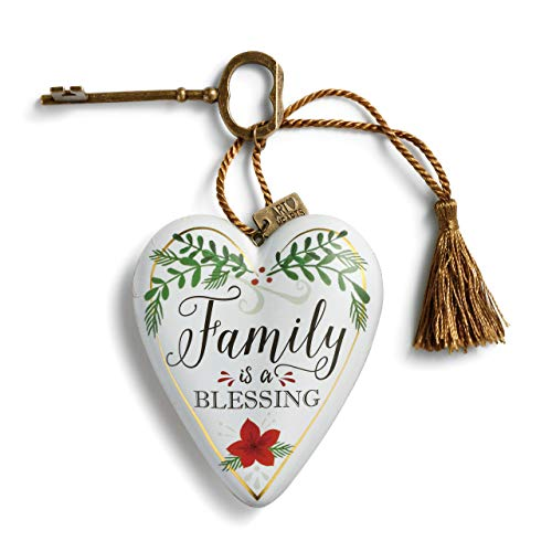 DEMDACO Family is A Blessing Floral White 4 inch Resin Stone Art Heart Collectible Figurine