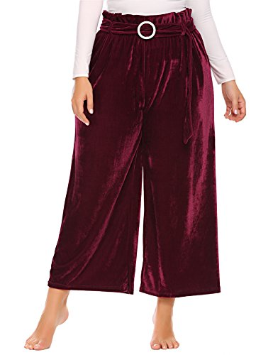 Zeagoo Womens Plus Size Warm Velvet Elastic Flared Wide Leg High Waist Long Capri Palazzo Pants with Belt Wind Red 16W