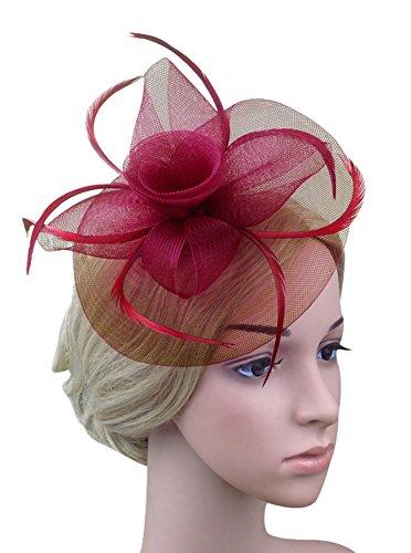 (Urban CoCo Women's Vintage Flower Feather Mesh Net Fascinator Hair Clip Hat Party Wedding (Wine))