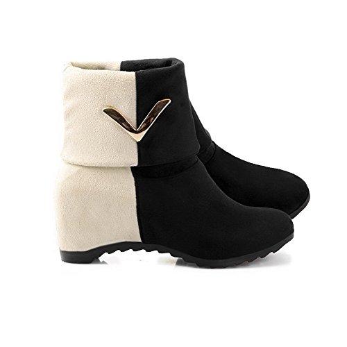 AgooLar Damen Rund Zehe Ziehen auf Gemischte Farbe Mittler Absatz Stiefel, Schwarz, 35