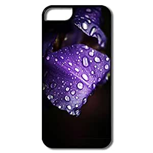 IPhone 5 5S Covers, Dew Purple Petals White/black Covers For IPhone 5/5S