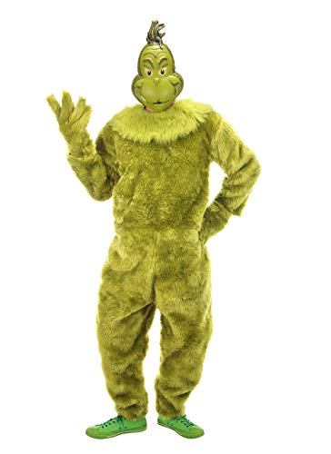 elope Dr. Seuss The Grinch Deluxe Jumpsuit Mens (S/M) Green]()