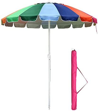 Yescom 7 ft Metal Rainbow Beach Patio Umbrella 16 Rib Tilt Market Table Umbrella Outdoor Sunshade Cover Sand Anchor