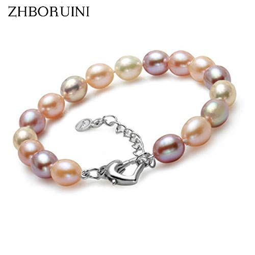 (Gabcus Fashion Charm Bracelet Natural Freshwater Pearl Jewelry 925 Sterling Silver Multicolor Pearl Bracelet Wedding)