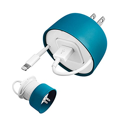 Quirky PPCM1-TL01 Powercurl Mini for Earbuds and Adapter, Teal