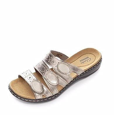 cbd9547093eb Clarks Leisa Cacti Slider Sandal with 3 Adjustable Strap Detail - Pewter -  UK 8 E (Wide Fitting)  Amazon.co.uk  Shoes   Bags