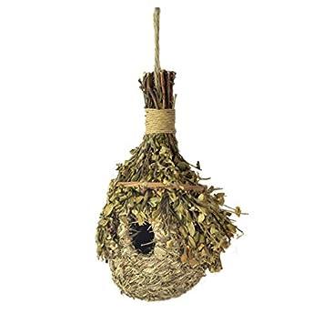 Caseta de madera para anidación de pájaros decorada con paja: Amazon.es: Jardín