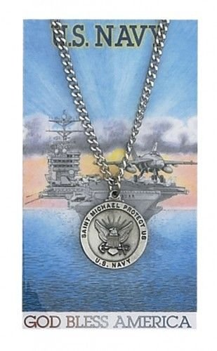 Round St. Michael Navy Medal with Prayer Card (Medal Angel Navy)