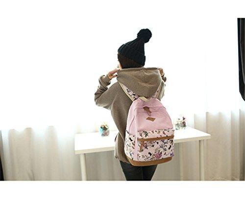 Go Further Lässige daypack neue Leinwand Blumendruck-Design-Student Schultern grünen Rucksack für Mädchen Rosa GzxLBqRt2