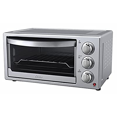 Oster 6-Slice Convection Toaster Countertop Oven - Silver Housing & Stainless Steel Front - 60 Minute Timer - Baking Pan