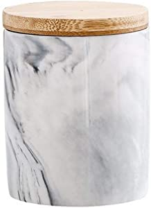XUDREZ Ceramic Food Storage Jar - Marble Look Porcelain Canister Bamboo Lid with Airtight Silicone Seal, Perfect for Tea, Coffee, Spices or Snacks (1)