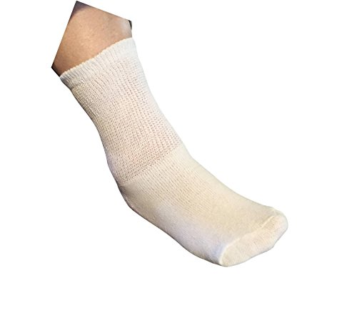 AHG White Diabetic Crew Socks Gentle Extra Wide Comfort -...
