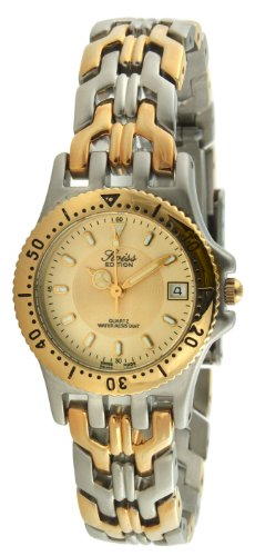 Swiss Edition Women's Luxury Bracelet Watch with Two Tone Gold Plated Sport Bezel and Swiss Made Analog Quartz Movement