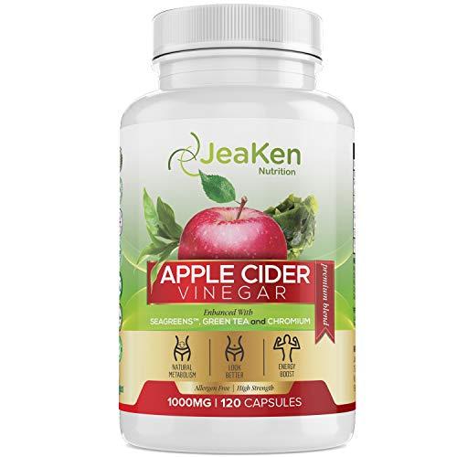 ABNEHMEN APFELESSIG KAPSELN - 120 Hochfeste Apple Cider Vinegar Kapseln- Detox Kapseln Fatburner Komplex Verbessert mit Seagreens, Grünem Tee und Chrom für 1000 mg Tägliche Dosierung-Allergenfrei