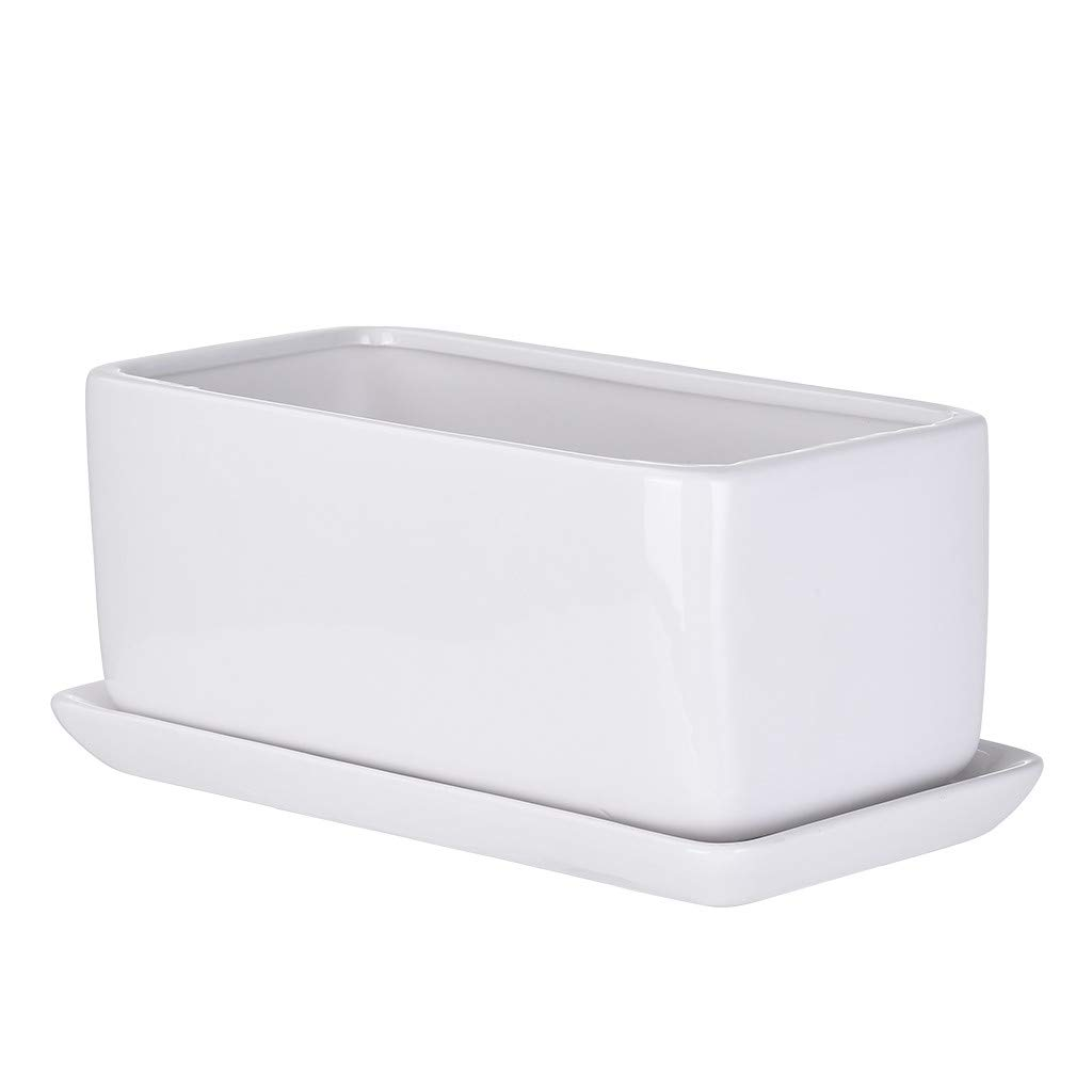 Modern Ceramic Plant Planting Flower Pot Rectangular with Chassis, for Planting Miniature Vegetables, Succulents, Air Plants, Moss, Cactus, etc. (White) by gofh