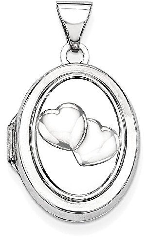 ICE CARATS 14k White Gold 17mm Double Hearts Oval Photo Pendant Charm Locket Chain Necklace That Holds Pictures by ICE CARATS