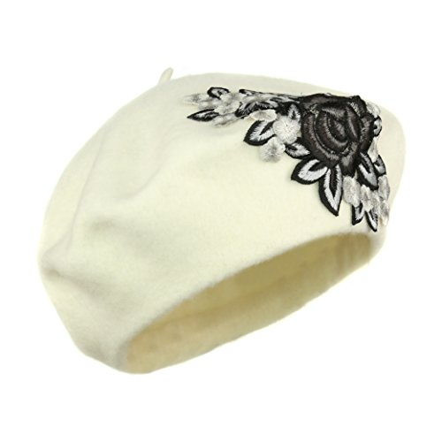 Vintage Ivory Rose Applique Beret, Warm 100% Wool Retro Cap with Floral Patch