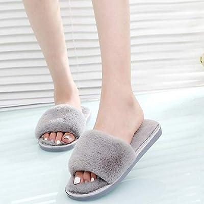 a03c1c8532 Amazon.com: Mink Monk Women Faux Furry Slippers Winter Female Fluffy ...