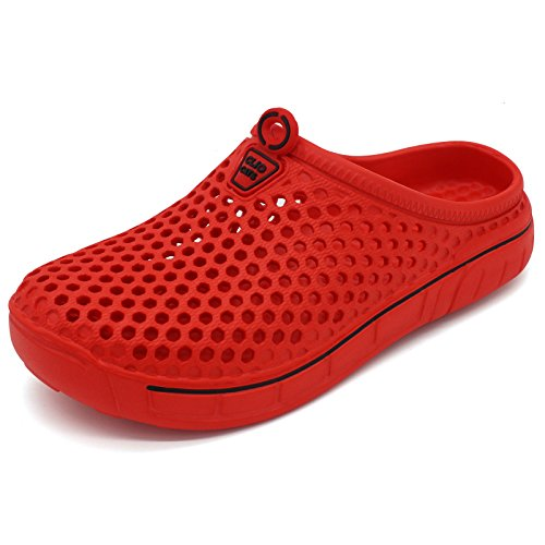 Ultifree Unisex Classic Clog Garden Shoes Art/Red