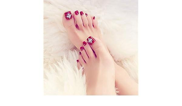 Amazon.com : 24Pcs French Toenails Wine Red Diamonds Fake Toe Nails Full Cover Pedicure Artificial Art Toenail Tips for Women Girls : Beauty