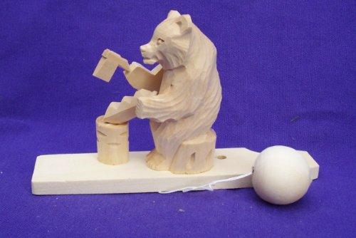 Bear Chopping Log Animated Wood Carving Bogorodskoye wood carved toy