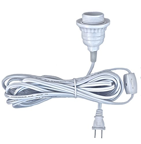 Happy Sales HSCORD-W Hanging Lantern Cord 15'L White ( UL Listed ) - Single Light Hanging Lantern