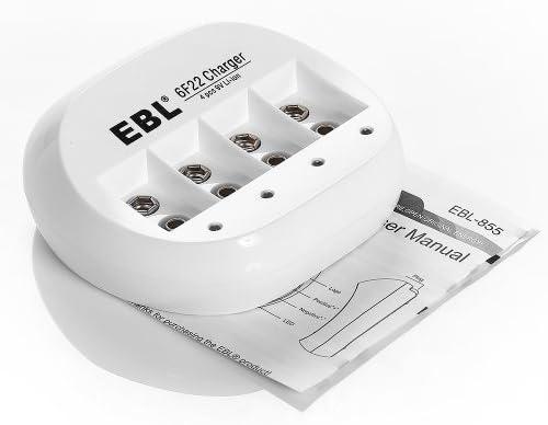 Amazon.com: EBL 855 4 Bay 9V Li-ion Battery Charger with 3 ...