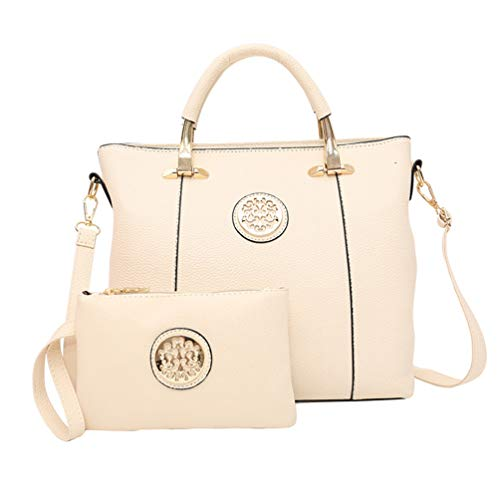 Leather Shiny Shoulder Solid Bag White Set Color Purse Bags Piece 2 Dexinx Charming Young Tote Women wfaaqR
