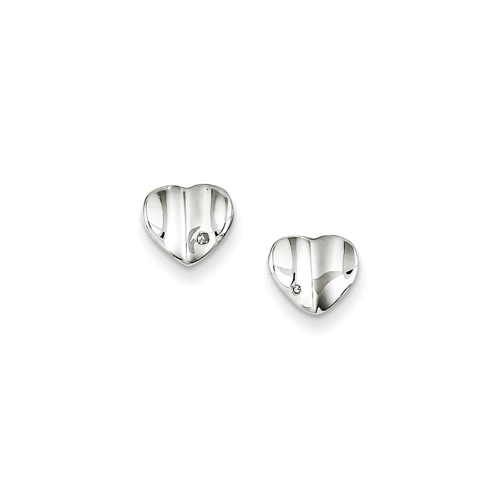 .925 Sterling Silver 8 MM Diamond Accent Polished Wavy Heart Post Earrings