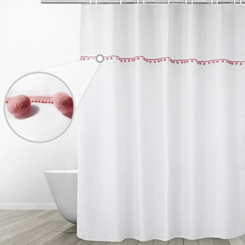 Eforgift Mildew Free Bath Curtain Water Repellent Heavy Weighted Fabric Bathroom Shower Curtain with Rustproof Grommets and Hooks, Pink Pom Fringes on White Background for Women, 72 x 72 inches (Shower Curtain Tassel)