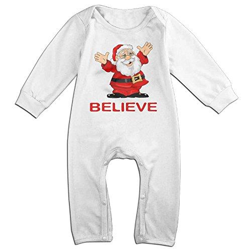 Newborn Baby Christmas Santa Clause Believe Long Sleeve Romper Jumpsuit 18 Months (Santa Suit Ebay)