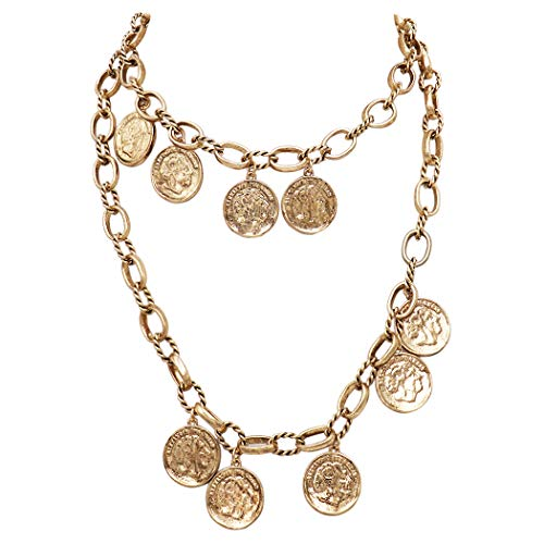 Double Strand Coin - Rosemarie Collections Women's Double Strand Chunky Gold Tone Link Collar Necklace with Coin Disc Charms