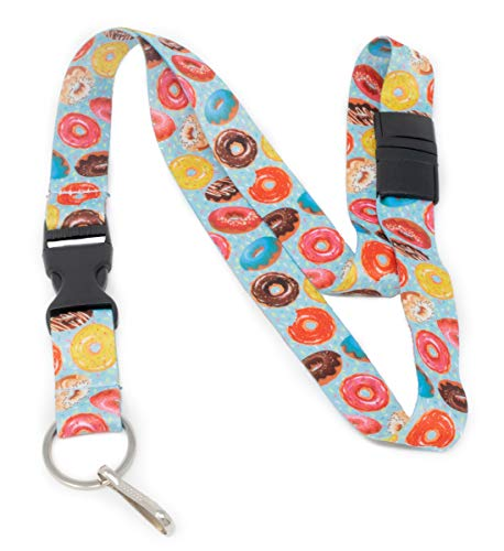 Limeloot Donuts and Sprinkles Premium Lanyard with Breakaway, Release Buckle, and Flat -