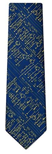 Men's Microfiber Transistor Radio Schematics Retro Tie Necktie (Navy Blue) (Board One Circuit Dimension)