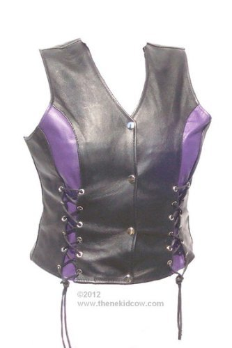 Womens Naked Leather Motorcycle Vest with VIOLET PURPLE Accents Front Laced Premium Leather, Satin Lined, Leightweight, Women, Ladies Biker Riding Beautiful Vest (5X, - Lined Leather Vest Fully
