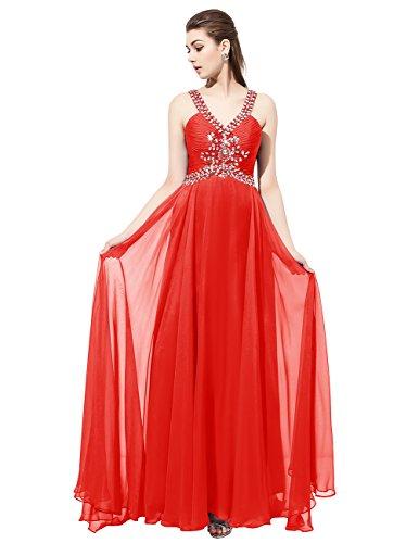 Dresstells®Vestido De Mujer Largo Fiesta Partido Noche Con Cuentas Espalda Al Aire Rojo