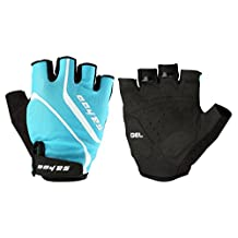Tofern Unisex Perspiration Bicycle Cycling Running Gym SPINNING Fitness Fingerless Gloves with Vibration-absorbing Soft Silicone GEL Pad - Black/Blue/Orange