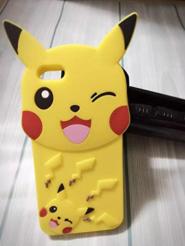 Yellow Pikachu iPhone 7 Plus Case Cute 3D Cartoon Pokemon Ra